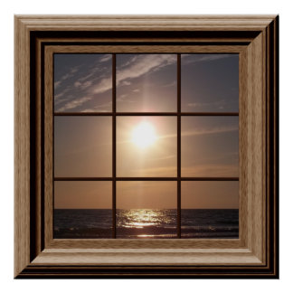 Puesta del sol pacífica del falso poster de la ven
