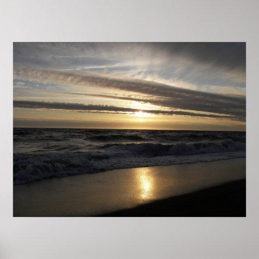 Puesta del sol pacífica impresiones