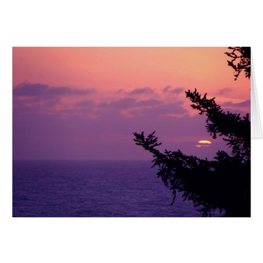 Puesta del sol pacífica tarjeton
