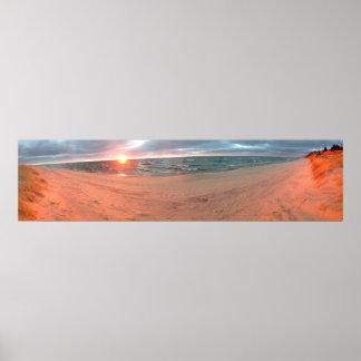 Puesta del sol panorámica del lago Michigan Póster