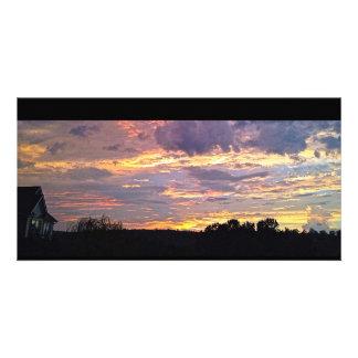 Puesta del sol panorámica púrpura tarjetas personales