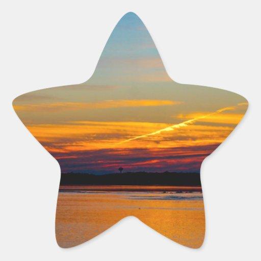 Puesta del sol calcomania forma de estrella
