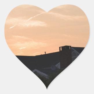 Puesta del sol pegatina en forma de corazón