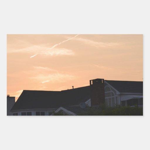 Puesta del sol pegatina rectangular