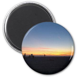 Puesta del sol perfecta en Huntington Beach, Imán Redondo 5 Cm