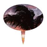 Puesta del sol pintada de la palma decoración de tarta
