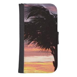 Puesta del sol pintada de la palma funda tipo billetera para galaxy s4