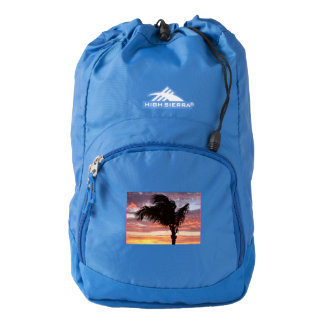 Puesta del sol pintada de la palma mochila