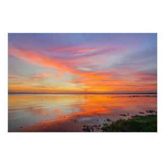 Puesta del sol pintada del cielo arte fotografico