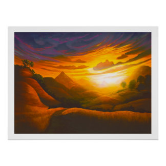 Puesta del sol polivinílica del barranco sobre el  impresiones