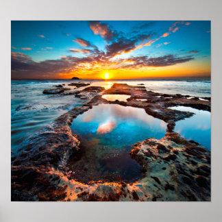 Puesta del sol por el poster del mar