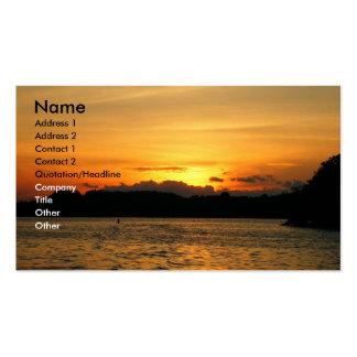 Puesta del sol preciosa tarjetas de visita