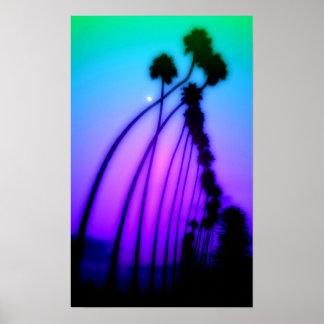 Puesta del sol psicodélica póster