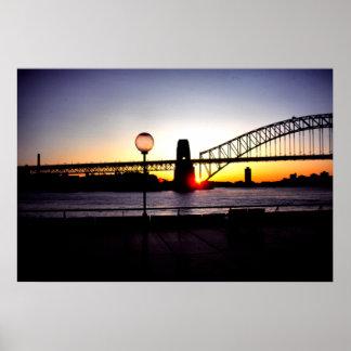 Puesta del sol puente de puerto de Sydney Posters