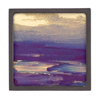 Puesta del sol púrpura del oro de Scape del océano Cajas De Joyas De Calidad