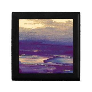 Puesta del sol púrpura del oro de Scape del océano Cajas De Joyas