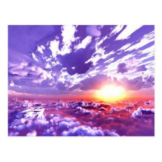 Puesta del sol púrpura del rojo del amarillo anara postales