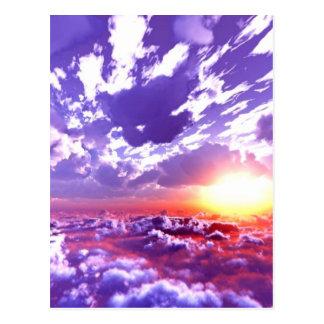 Puesta del sol púrpura del rojo del amarillo anara postal