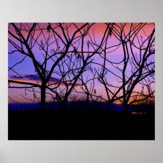 Puesta del sol púrpura impresiones