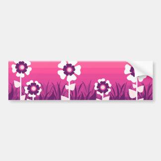 Puesta del sol púrpura rosada de la flor pegatina para auto