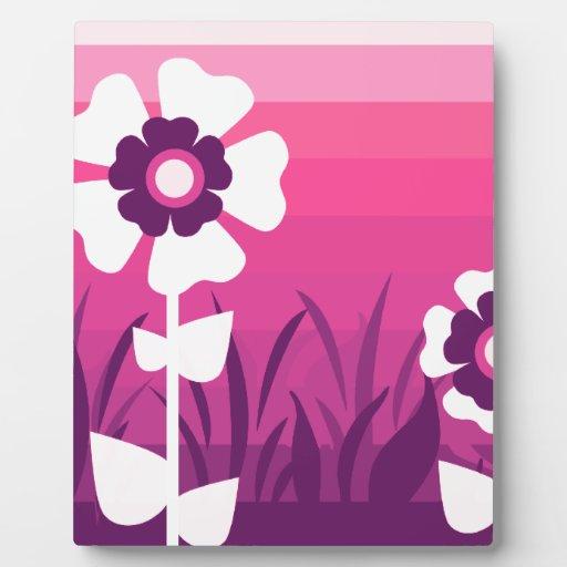 Puesta del sol púrpura rosada de la flor placa de madera