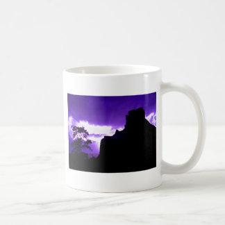 Puesta del sol púrpura tazas