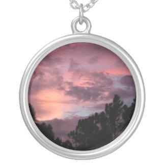 Puesta del sol púrpura y rosada de la Florida sobr Colgante Redondo