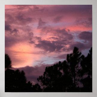 Puesta del sol púrpura y rosada de la Florida sobr Poster