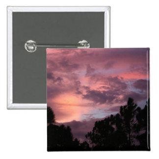 Puesta del sol púrpura y rosada de la Florida sobr Pin Cuadrada 5 Cm