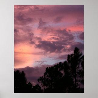 Puesta del sol púrpura y rosada de la Florida sobr Póster