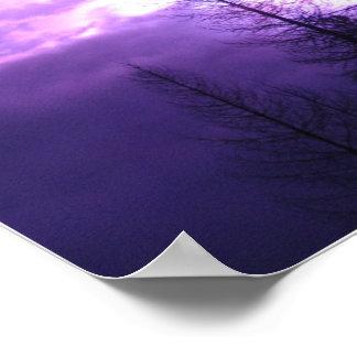"""Puesta del sol púrpura y siluetas 20"""" x 16"""" poster"""
