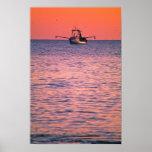 Puesta del sol que pesca cerca de Montauk Poster