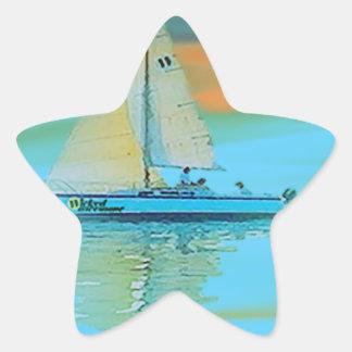 puesta del sol que pinta la navegación lisa pegatina en forma de estrella