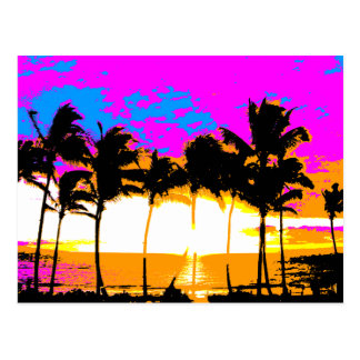 Puesta del sol retra de las palmeras del vintage postal