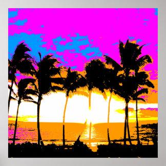 Puesta del sol retra de las palmeras del vintage póster