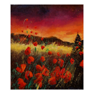 Puesta del sol roja 76 de las amapolas póster