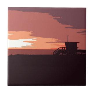 Puesta del sol roja azulejo cuadrado pequeño