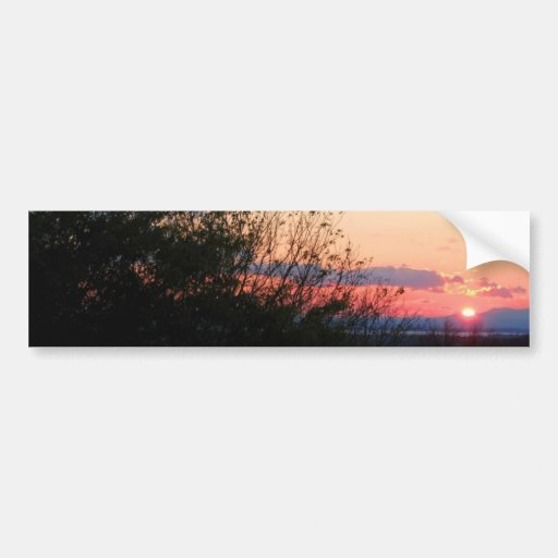 Puesta del sol roja pegatina de parachoque