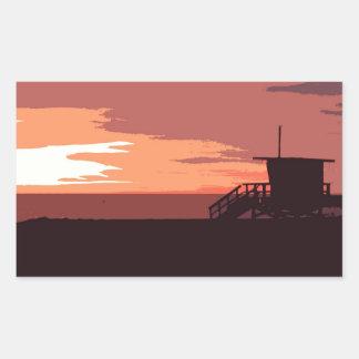 Puesta del sol roja pegatina rectangular