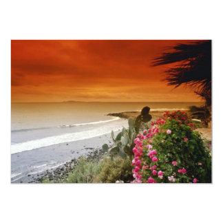 Puesta del sol roja, punto de San Miguel, Baja Invitación 12,7 X 17,8 Cm