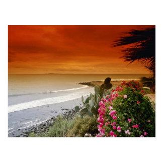 Puesta del sol roja, punto de San Miguel, Baja Postal