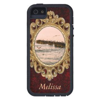 Puesta del sol roja, rompeolas y gaviotas iPhone 5 Case-Mate carcasa