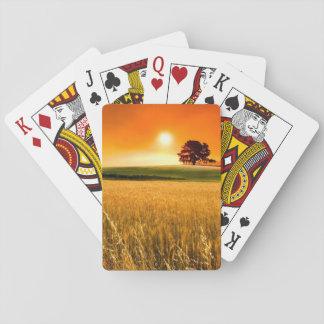 Puesta del sol roja sangre cartas de póquer