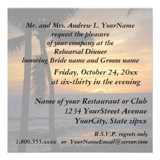 Puesta del sol romántica de la playa de la cena invitaciones personalizada