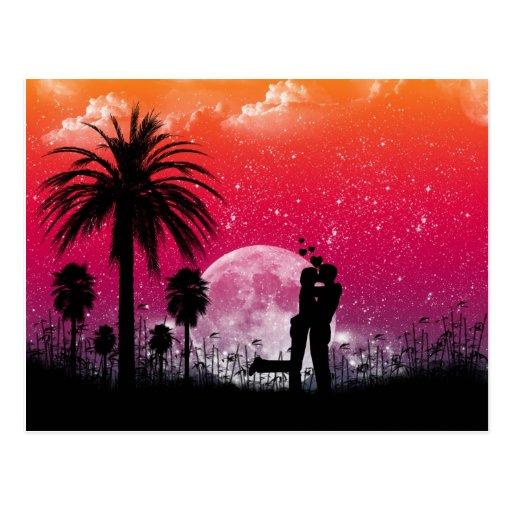 Puesta del sol romántica en la postal de las palma