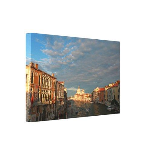 Puesta del sol romántica en Venecia Italia Lona Estirada Galerías