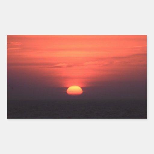 Puesta del sol romántica rectangular pegatinas