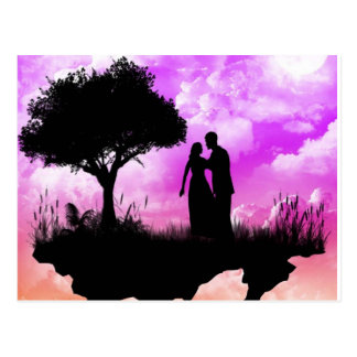 Puesta del sol romántica postales