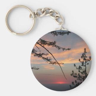 Puesta del sol rosada con el árbol y las nubes de llavero