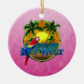 Puesta del sol rosada de Key West Adorno Navideño Redondo De Cerámica